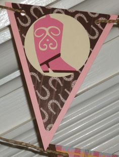 Western / Cowgirl Themed Happy Birthday Banner  ... MADE TO ORDER ... pink green brown... paisley plaid ... adjustable.
