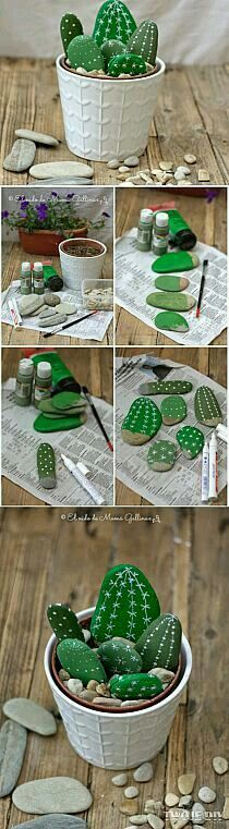 Try These Best DIY Projects For Your Home Decoration, DIY and Crafts, Painted Cactus Rocks. Rock painting has become very popular these days. Pick up rocks and paint them in the pattern of cactus, arrange them together w. Kids Crafts, Diy And Crafts, Arts And Crafts, Kids Diy, Decor Crafts, Homemade Crafts, Nature Crafts, Kid Craft Gifts, Crafts To Make And Sell Easy