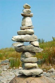 Balance Rocks - Cairns - Rock piles found on the shore of Lake Michigan USA.