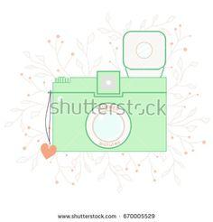 Vector vintage summer photo camera on floral background