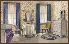 1922 Armstrong Bedroom by American Vintage Home. This would be a lovely guest room/sitting room. Living Vintage, Vintage Room, Bedroom Vintage, Vintage Decor, Vintage Homes, Vintage Stuff, Vintage Kitchen, Vintage Art, Cheap Beach Decor