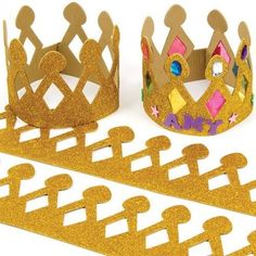 Buy Gold Glitter Foam Crowns at Baker Ross. Gold glitter foam crowns to personalise with jewels, sequins and stick-ons. Easy to fasten and can be adjusted to size. Foam Crafts, Diy And Crafts, Crafts For Kids, Arts And Crafts, Bible School Crafts, Preschool Crafts, Nativity Costumes, Crown For Kids, Felt Crown