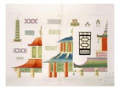 Chinese Pagoda Design (Colour Litho) Giclee Print by Italian at Art.com