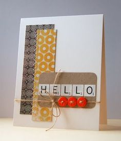 It's time for CAS-ual Fridays numero dos, and the challenge is to use buttons and twine on a CAS card. Scrapbooking, Scrapbook Cards, Card Making Inspiration, Making Ideas, Scrabble Cards, Crafts To Do, Paper Crafts, Diy Cards, Craft Cards