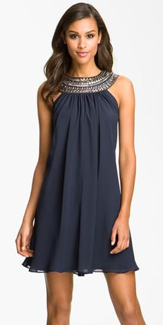 Nordstrom - Embellished Chiffon Trapeze Dress