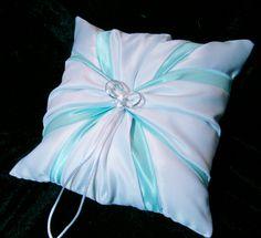 White Wedding Ring Bearer Pillow Tiffany Blue by Jessicasdaydream