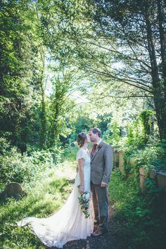 Image by Matt Willis Photography. - Rustic Wedding At Arnos Vale In Bristol With A 'Rania' Dress by Anouska G And Groom In Walker Slater Suit By Matt Willis Photography.