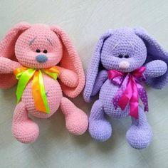 Плюшевые зайцы игрушки крючком
