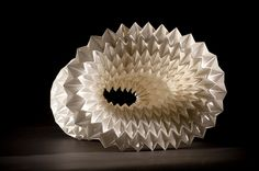 Featured at New Designers London, paper construction by Bekx Stephens. Bekx works with recycled paper to create stunning decorative forms.