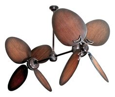"... Bronze Dual Ceiling Fan with 50"" Distressed Walnut Large Oval Blades"