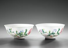 (Qing) Famille Rose. A pair of Famille Rose Porcelain Bowls. ca 18th century CE. Qing dynasty, China.