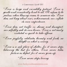 1 Corinthians 13:4-8 TPT