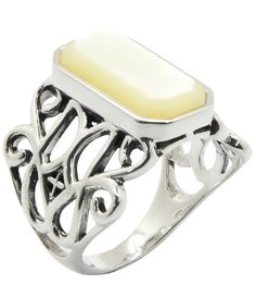 Calvary Mother-of-Pearl Sterling Silver Stone Statement Ring