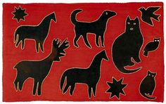"An applique rug with a 'star-studded menagerie' of animal silhouettes  Black wool cut-out shapes embroidered and outlined in white stitches and all on a bright red wool background. Descended in the original family and said to have been made by a Minnie Culbertson (1868-1953) of Shippensburg, Pennsylvania.    This rug comes with a letter from the family and photos of Minnie Culbertson documenting her as the rug maker.    circa 1880,     29"" x 46"" mounted."