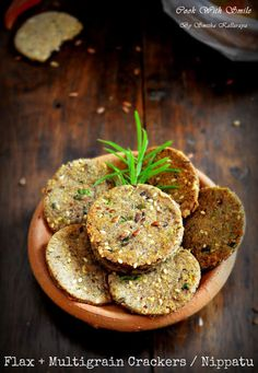 Multigrain Flax Seed Savoury Crackers recipe by Smitha Kalluraya at BetterButter Savory Crackers Recipe, Healthy Crackers, Crackers Appetizers, Homemade Crackers, Tea Time Snacks, Dry Snacks, Healthy Snacks, Savory Snacks, Gourmet