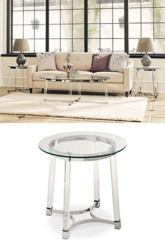 The Lucinda Occasional Collection decorates your home with simplistic luxury. The petite frame of this set makes it a subtle luxury of a glass end table. Grace your space with this beautiful collection and enjoy the way it lights up the room. #shopgahs #ohmygahs #endtable #sidetable #roundendtable #glamstyle #livingroom #familyroom #den #grandroom #accenttable