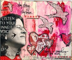 Awesome Journal Page by Anna-Karin for the Simon Says Stamp Monday challenge (Pink and Red)