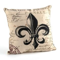 Faux Linen Fleur-de-Lis Throw Pillow | Kirkland's