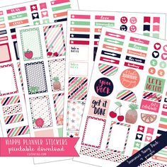 summer (navy and pink) planner stickers - Downloadable Happy Planner Stickers available @lizoncall.com shop