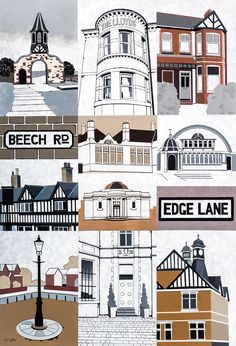 Poster print of my original montage painting of some of Chorltons best known Landmarks. The poster has a white border and fits straight into a frame Manchester Landmarks, Manchester Art, Canvas Signs, Landscape Prints, Sign Printing, Unique Art, Fine Art Prints, Art Gallery, Poster Prints