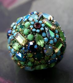 Vintage Crystals Rhinestones Ball Orb Sphere Encrusted Jewelry Ornament - Original Art Decor Blues and Greens All Occasion Gift - Lagoon by ASoulfulJourney on Etsy https://www.etsy.com/listing/513707577/vintage-crystals-rhinestones-ball-orb