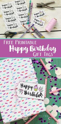 Free Printable Happy Birthday Gift Tags--Download the tag file, print on card stock, and color the tags to match your gift wrapping! www.pitterandglink.com