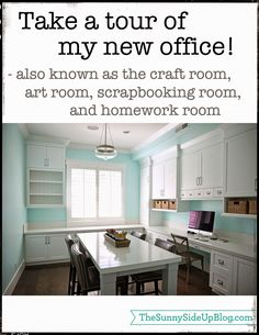 "Sunny Side Up - Office/Craft room tour!  The craft room wall color is ""Spearmint"" DE5729 by Dunn Edwards."