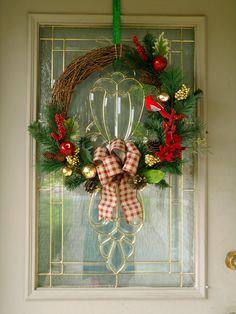 Grapevine Christmas Wreath, Woodland Christmas Decor, Rustic Home Decor, Farmhouse Christmas Decor, Christmas Wreath, Red Cardinal Wreath