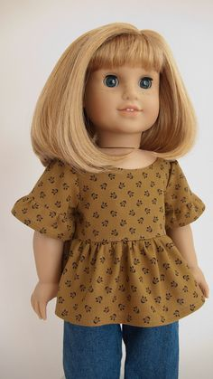 """18 Inch American Girl Doll Shirt 18"""" Doll Clothes Ruffled Peplum Tunic Top in Goldenrod Thimbleberries"""