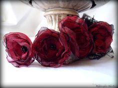 Boho In Red Hair Flowers Organza RedBlack by RainwaterStudios, $22.00
