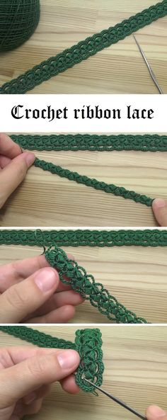 Crochet Ribbon Lace Tutorial - lovely clear video tutorial (Russian) by Уроки ВЯЗАНИЯ Литке Татьяны. Linked at Design Peak.
