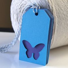 Butterfly Gift Tags  Swing Tags in Ocean & Grape by Scrap Bits on Etsy