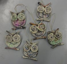 macrame colorful newspaper owl craft for kids is super bright and beautiful and mak.This colorful newspaper owl craft for kids is super bright and beautiful and makes a great kids craft for Earth Day since Upcycled Crafts, Recycled Magazine Crafts, Recycled Paper Crafts, Recycled Magazines, Newspaper Crafts, Recycled Art, Paper Jewelry, Paper Beads, Rolled Magazine Art