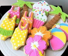Pool Party Themed Decorated Cookies- Perfect for a Hawaiian Luau Summer Party Favor, via Etsy. (Hawaiian Luau For Kids) Iced Cookies, Cute Cookies, Cupcake Cookies, Cookies Et Biscuits, Making Cookies, Birthday Cookies, Cookie Favors, Sweet Cookies, Baby Cookies