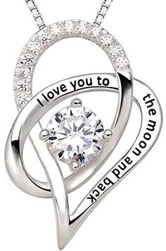"""Sterling Silver """"I Love You To The Moon and Back"""" Love Heart Pendant Necklace"""