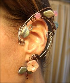 Pair of Fabulous Faerie Elf Ear Cuffs with Czech Glass Flowers and Leaves by jhammerberg