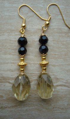 Citrine and Onyx Gemstone Dangle Earrings Citrine Onyx Drop Earrings Beaded Earrings