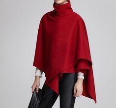 Rojo Cachemira mujeres capa capa de lana abrigo para por JM521
