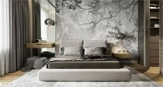 Modern bedroom with accent wall – The bedroom in modern style with am emphasis wall - Modern Bedroom Furniture, Contemporary Bedroom, Bedroom Decor, Bedroom Ideas, Bedroom Plants, Wood Bedroom, Bedroom Modern, Bedroom Inspiration, Bedroom Headboards