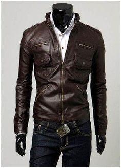 Best seller! Men's Classic Biker PU leather jacket.