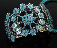 Vtg old pawn Navajo Zuni DISHTA Style turquoise sterling bracelet