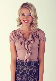 """Double Ruffle Blouse in Rose This top is unlike any you have seen before. The neckline is tightly gathered and leads into gorgeous cascading ruffles. The sleeves are pleated and adds to the originality of this top. Dress it up with the """"Printed Pencil"""" Skirt in Grey & Rose Floral Print or any of our other skirts, or dress it down with your favorite pair of jeans. Exemplify true beauty in the Double Ruffle Modest Blouse. $34.99 http://www.jenclothing.com/mi-8014-doubleruffle-rose.html"""