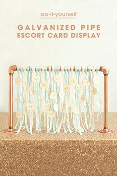 Wedding Table Number Ideas // DIY galvanized pipe, escort card display!
