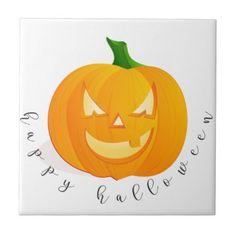 Happy Halloween Tile - halloween decor diy cyo personalize unique party