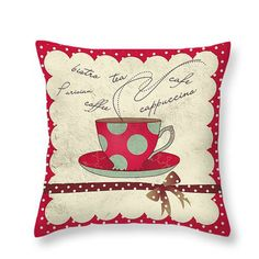 Coffee Tea Grunge Throw Pillow Decorative Pillows by FolkandFunky