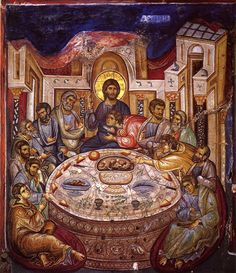 Byzantine Iconography - Jesus Christ Last Supper / Тайная Вечеря Religious Images, Religious Icons, Religious Art, Byzantine Icons, Byzantine Art, Religion, Fresco, Russian Icons, Last Supper