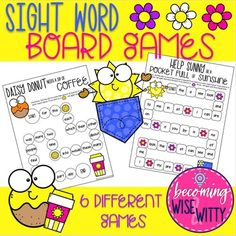 Sight Word Board Games (Fry & Dolch List) Second Grade Sight Words, Pre Primer Sight Words, Fry Sight Words, Dolch Sight Words, Sight Word Practice, Sight Word Games, Sight Word Activities, Dolch List, Sight Word Coloring