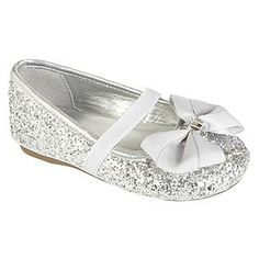Girls off white rock glitter mary jane flats with glitter chiffon silver flower girl shoes mightylinksfo
