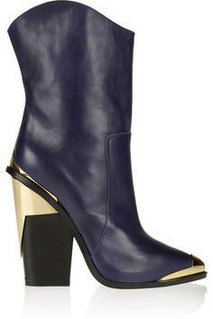 Versace Metal-trimmed leather mid-calf boots