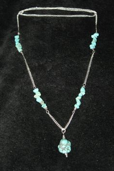 Silver & Turquoise Nugget Necklace (very long)